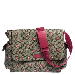 Gucci Beige/Pink GG Supreme Canvas and Leather Strawberry Print Diaper Messenger Bag