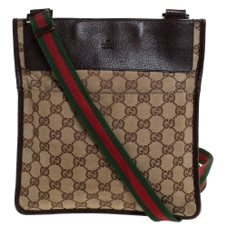 Gucci Brown GG Canvas and Leather Web Messenger Bag