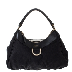 Gucci Black GG Canvas and Leather Medium D Ring Hobo