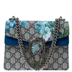 Gucci Blue/Beige GG Supreme Blooms Canvas and Suede Mini Dionysus Shoulder Bag