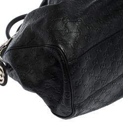 Gucci Black Guccissima Leather Large Sukey Tote