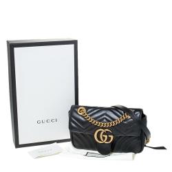 Gucci Black Matelasse Leather Mini GG Marmont Shoulder Bag