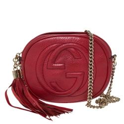 Gucci Red Leather Mini Soho Disco Chain Crossbody Bag