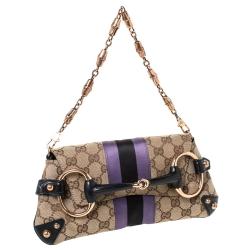 Gucci Beige GG Canvas and Satin Horsebit Flap Clutch Bag