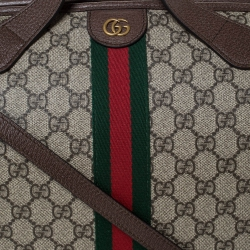 Gucci Brown/Beige GG Supreme Canvas and Leather Ophidia Duffel Bag