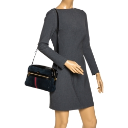 Gucci Black Suede and Patent Leather Ophidia Shoulder Bag