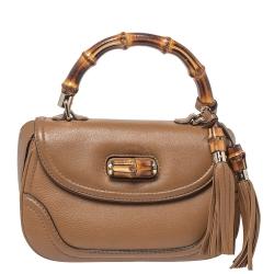 Gucci Tan Leather Medium Tassel Bamboo Top Handle Bag