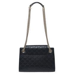 Gucci Black Guccissima Leather Small Emily Chain Shoulder Bag