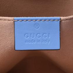 Gucci Blue Leather Mini Nymphaea Bamboo Top Handle Bag