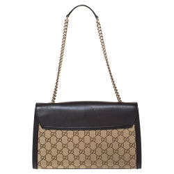 Gucci Beige/Brown GG Canvas and Leather Medium Emily Chain Shoulder Bag