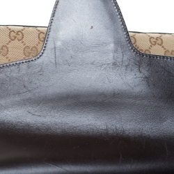 Gucci Beige/Dark Brown GG Canvas and Leather Large Emily Chain Shoulder Bag