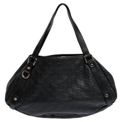 Gucci Black Guccissima Leather Medium Abbey Hobo
