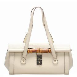 Gucci White Leather Bamboo Bullet Bag