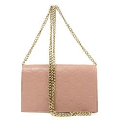 Gucci Pink Guccissima Leather Signature Wallet on Chain Bag