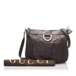 Gucci Brown Leather Guccissima Abbey D-Ring Shoulder Bag