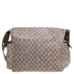 Gucci Beige GG Canvas and Leather Strawberry-Print Diaper Messenger Bag