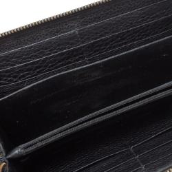 Gucci Black Leather Soho Zip Around Wallet