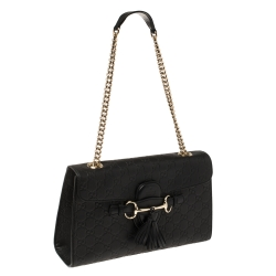 Gucci Black Guccissima Leather Medium Emily Chain Shoulder Bag