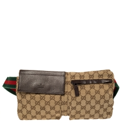 Gucci Brown/Beige GG Canvas and Leather Web Waist Belt Bag