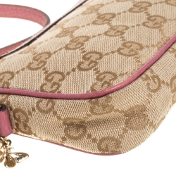 Gucci Pink/Beige GG Canvas and Leather Charm Pochette Bag