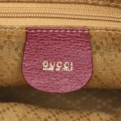 Gucci Purple Suede Bamboo Satchel