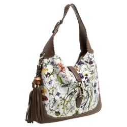 Gucci White Flora Canvas and Leather Large Jackie O Hobo