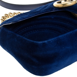 Gucci Blue Velvet Small GG Marmont Shoulder Bag