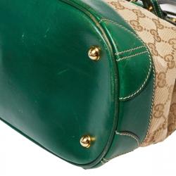 Gucci Beige/Green GG Canvas/Leather and Crocodile Secret Satchel
