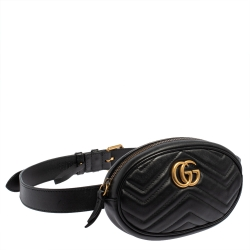 Gucci Black Matelasse Leather GG`Marmont Belt Bag