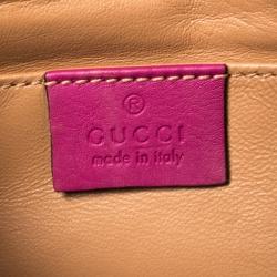 Gucci Fuchsia Suede Crystal Horsebit Broadway Clutch