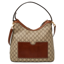 Gucci Beige/Brown GG Supreme Coated Canvas and Leather Linea A Hobo