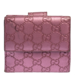 Gucci Metallic Pink Guccissima Leather Heart French Flap Wallet