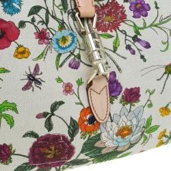 Gucci Botanical Floral Canvas Jackie O Bouvier Hobo