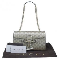 Gucci Metallic Gold Guccissima Leather Emily Chain Shoulder Bag