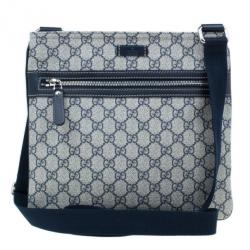 Gucci Monogram Canvas GG Supreme Flat Messenger Bag