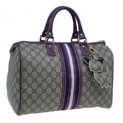 Gucci Limited Edition Purple Stripe GG Monogram Joy Boston Bag