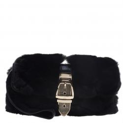 Gucci Black Fur Lizard Trim Crystal Embellished Wristlet Clutch f49cf567db5d4