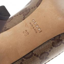 Gucci Brown Guccissima Crystal Heart Crest Pumps Size 38
