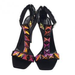 Gucci Black Satin Embellished T Strap Sandals Size 38