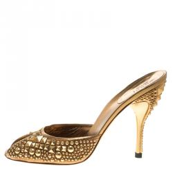 3eb1845dc15 Gucci Metallic Gold Studded Leather Peep Toe Slide Mules Size 39