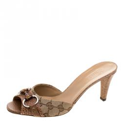 ac6ec967324 Buy Gucci Beige Kitty Monogram Bamboo Horsebit Slides Size 38 119358 at  best price