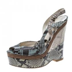 693783049e4 Gucci Tricolor Python Leather Peep Toe Platform Slingback Wedge Sandals Size  39