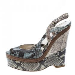 87cecdec2b1f17 Gucci Tricolor Python Leather Peep Toe Platform Slingback Wedge Sandals Size  39
