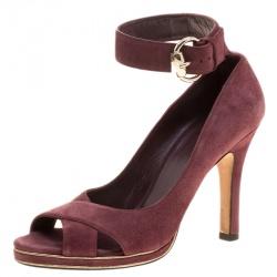 572d17d7afa8 Gucci Burgundy Suede Criss Cross Ankle Strap Pumps Size 37