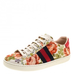 4f7b50f8561 Gucci For Net A Porter Floral Printed Canvas New Ace Low Top Sneakers Size  35