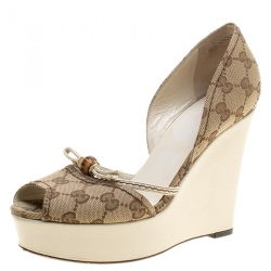 635d605ec Gucci Beige GG Canvas Bamboo Peep Toe D'orsay Wedge Sandals Size 37.5