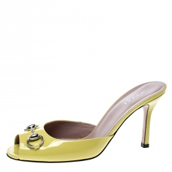 a5ef0337b24 Gucci Yellow Patent Leather Peep Toe Horsebit Slides Size 37.5