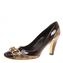 8f990156e68 Gucci Brown GG Crystal Canvas and Leather Bamboo Horsebit Block Heel Pumps  Size 41