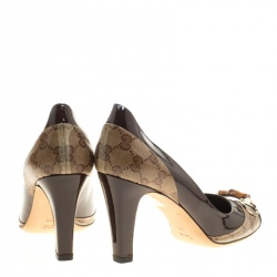 Gucci Brown GG Crystal Canvas and Leather Bamboo Horsebit Block Heel Pumps Size 41