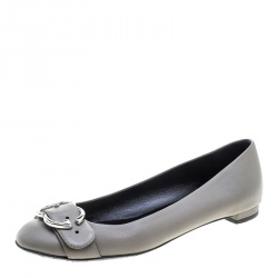 Gucci Grey Leather Sachalin Buckle Detail Ballet Flats Size 37.5